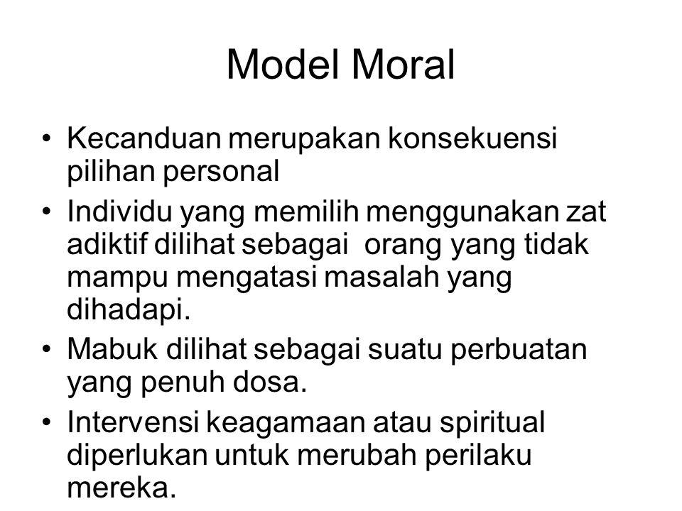 Model Moral Kecanduan merupakan konsekuensi pilihan personal Individu yang memilih menggunakan zat adiktif dilihat sebagai orang yang tidak mampu meng