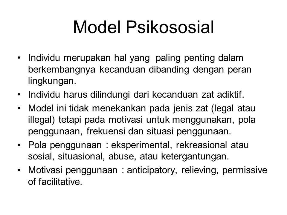 Model Psikososial Individu merupakan hal yang paling penting dalam berkembangnya kecanduan dibanding dengan peran lingkungan. Individu harus dilindung