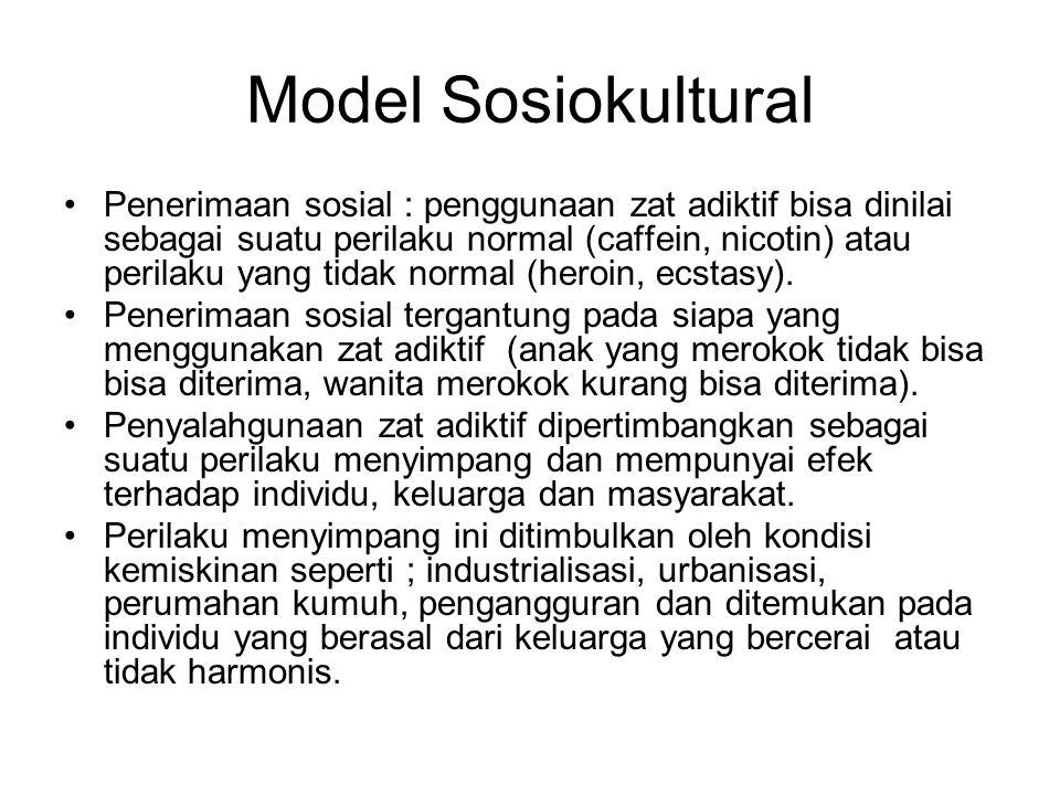 Model Sosiokultural Penerimaan sosial : penggunaan zat adiktif bisa dinilai sebagai suatu perilaku normal (caffein, nicotin) atau perilaku yang tidak