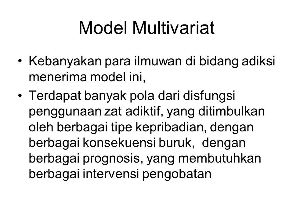 Model Multivariat Kebanyakan para ilmuwan di bidang adiksi menerima model ini, Terdapat banyak pola dari disfungsi penggunaan zat adiktif, yang ditimb