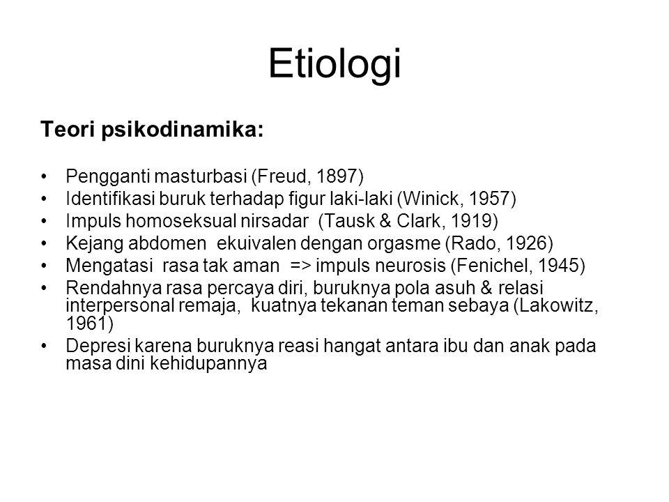 Etiologi Teori psikodinamika: Pengganti masturbasi (Freud, 1897) Identifikasi buruk terhadap figur laki-laki (Winick, 1957) Impuls homoseksual nirsada