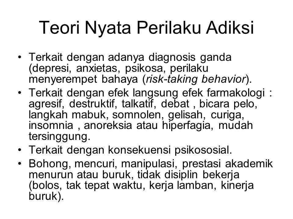 Teori Nyata Perilaku Adiksi Terkait dengan adanya diagnosis ganda (depresi, anxietas, psikosa, perilaku menyerempet bahaya (risk-taking behavior). Ter