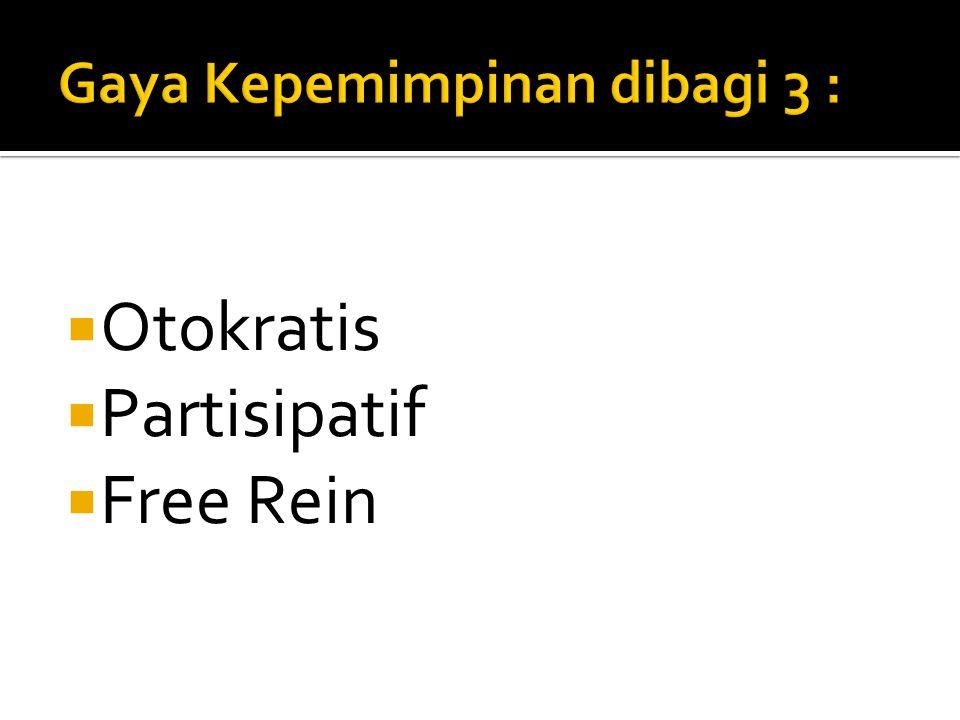  Otokratis  Partisipatif  Free Rein