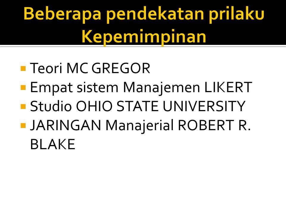  Teori MC GREGOR  Empat sistem Manajemen LIKERT  Studio OHIO STATE UNIVERSITY  JARINGAN Manajerial ROBERT R. BLAKE