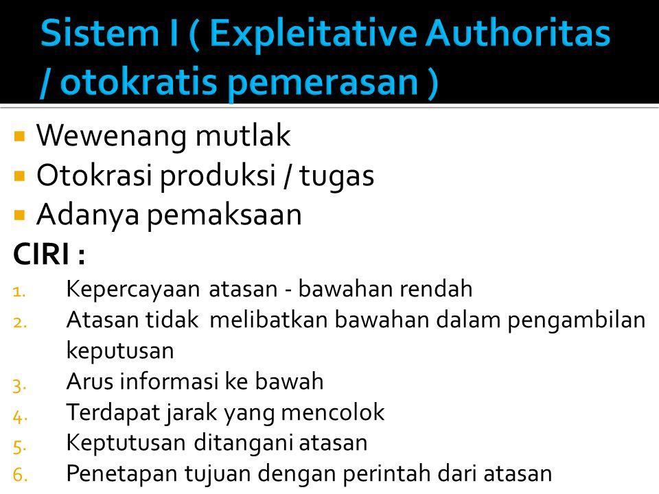  Wewenang mutlak  Otokrasi produksi / tugas  Adanya pemaksaan CIRI : 1. Kepercayaan atasan - bawahan rendah 2. Atasan tidak melibatkan bawahan dala