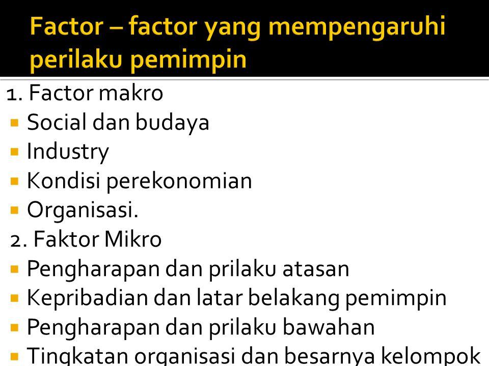 1. Factor makro  Social dan budaya  Industry  Kondisi perekonomian  Organisasi. 2. Faktor Mikro  Pengharapan dan prilaku atasan  Kepribadian dan