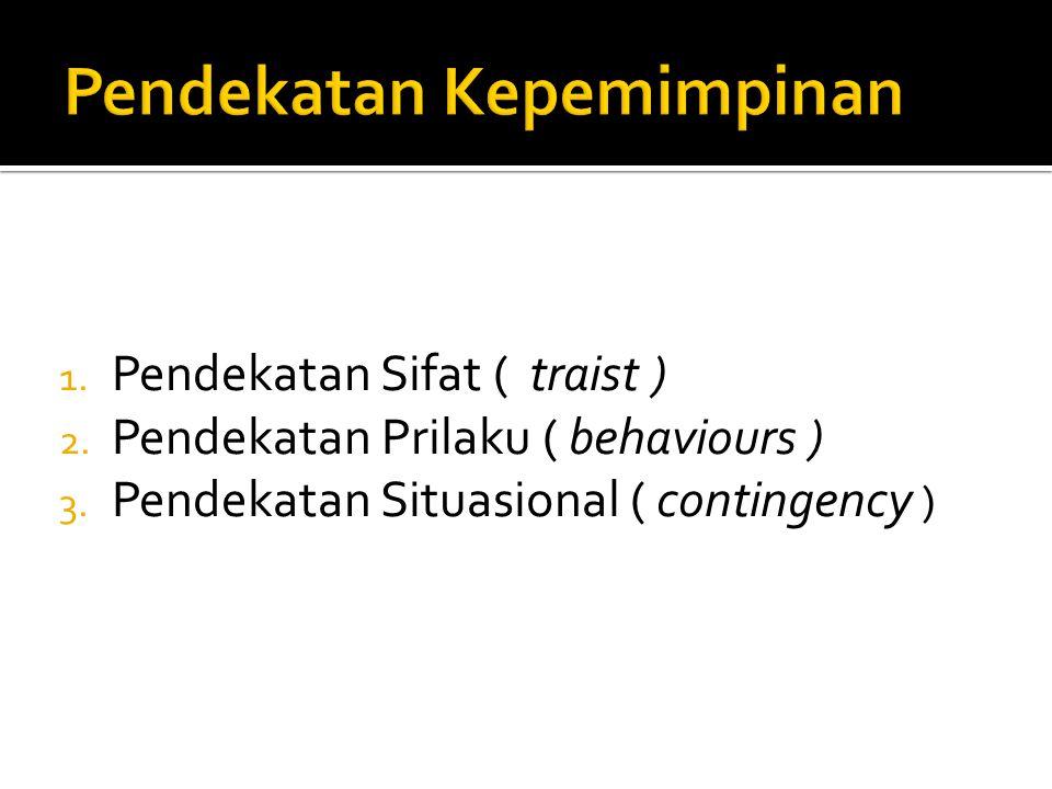1. Pendekatan Sifat ( traist ) 2. Pendekatan Prilaku ( behaviours ) 3. Pendekatan Situasional ( contingency )