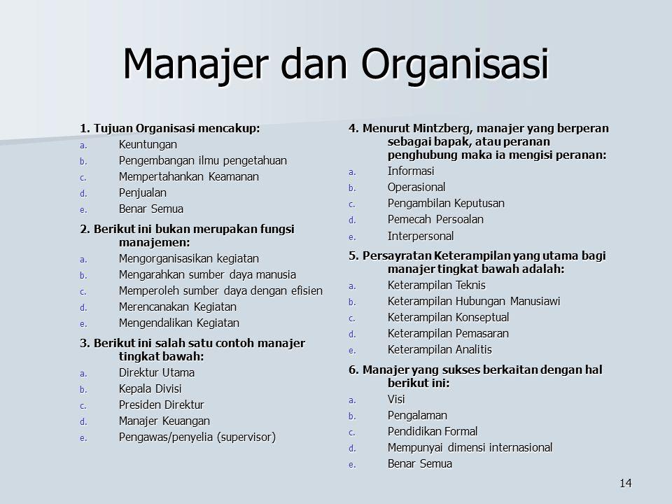 13 Manajer dan Organisasi 1. Salah satu fungsi manajemen adalah: a. Memperoleh Input b. Menggunakan Input c. Perencanaan d. Memproses Input e. Benar S
