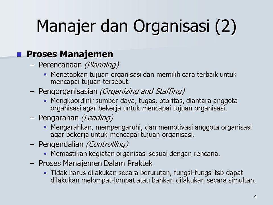 3 Manajer dan Organisasi Organisasi dan Manajer Organisasi dan Manajer –Pengertian Organisasi  Kelompok orang (dua atau lebih) yang bekerjasama denga