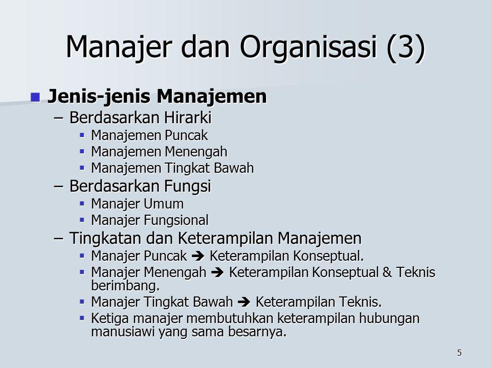 4 Manajer dan Organisasi (2) Proses Manajemen Proses Manajemen –Perencanaan (Planning)  Menetapkan tujuan organisasi dan memilih cara terbaik untuk m