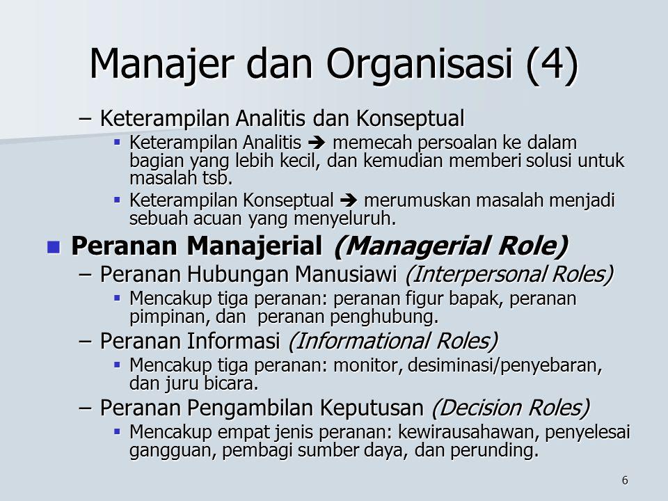 5 Manajer dan Organisasi (3) Jenis-jenis Manajemen Jenis-jenis Manajemen –Berdasarkan Hirarki  Manajemen Puncak  Manajemen Menengah  Manajemen Ting