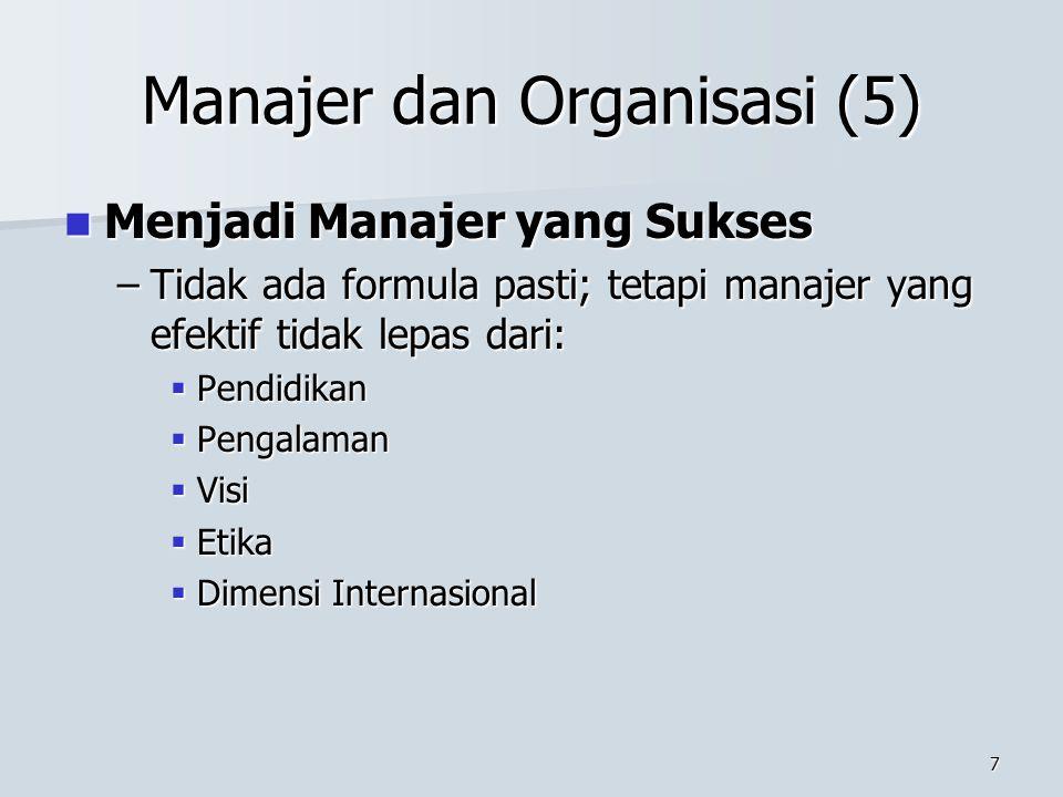 6 Manajer dan Organisasi (4) –Keterampilan Analitis dan Konseptual  Keterampilan Analitis  memecah persoalan ke dalam bagian yang lebih kecil, dan k