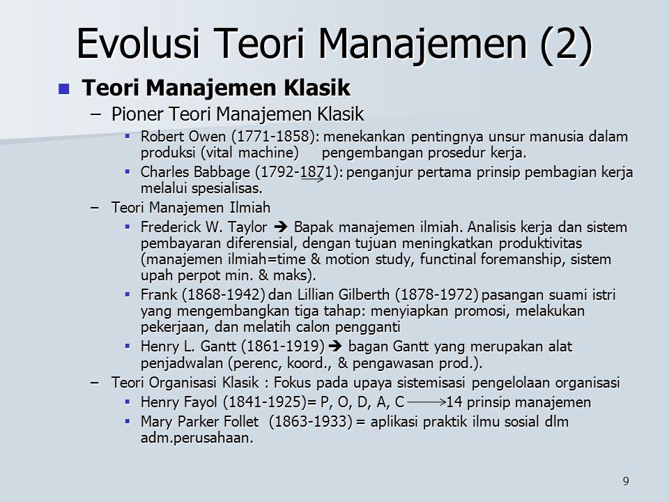 8 Evolusi Teori Manajemen Kenapa Teori? Kenapa Teori? –Teori merupakan kumpulan prinsip yang disusun secara sistematis. –Prinsip berusaha menjelaskan