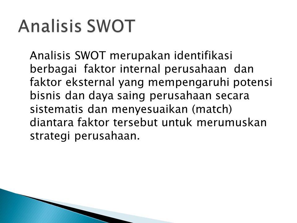 Analisis SWOT merupakan identifikasi berbagai faktor internal perusahaan dan faktor eksternal yang mempengaruhi potensi bisnis dan daya saing perusaha