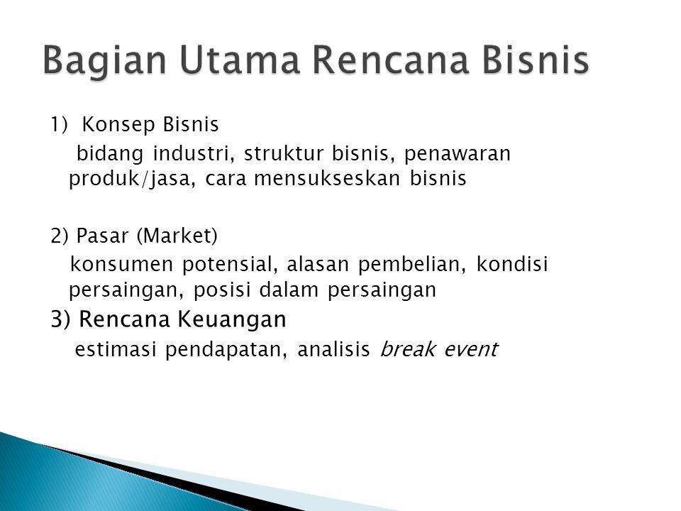 1) Konsep Bisnis bidang industri, struktur bisnis, penawaran produk/jasa, cara mensukseskan bisnis 2) Pasar (Market) konsumen potensial, alasan pembel