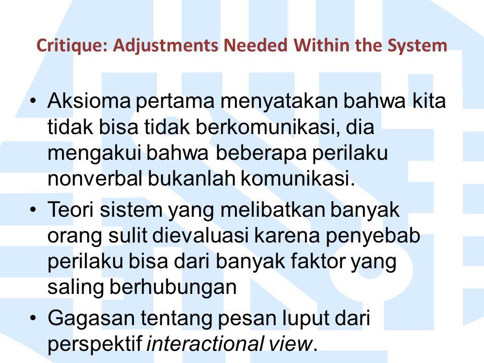 Critique: Adjustments Needed Within the System Aksioma pertama menyatakan bahwa kita tidak bisa tidak berkomunikasi, dia mengakui bahwa beberapa peril