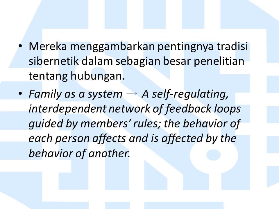 Mereka menggambarkan pentingnya tradisi sibernetik dalam sebagian besar penelitian tentang hubungan. Family as a system A self-regulating, interdepend