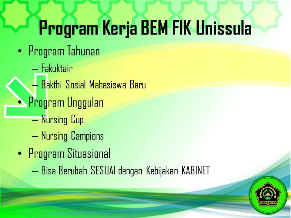 Program Kerja BEM FIK Unissula Program Tahunan – Fakuktair – Bakthi Sosial Mahasiswa Baru Program Unggulan – Nursing Cup – Nursing Campions Program Si