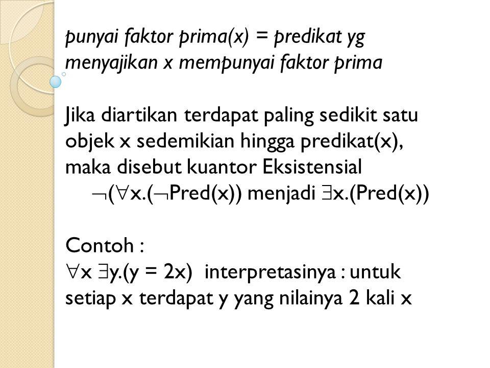 punyai faktor prima(x) = predikat yg menyajikan x mempunyai faktor prima Jika diartikan terdapat paling sedikit satu objek x sedemikian hingga predika