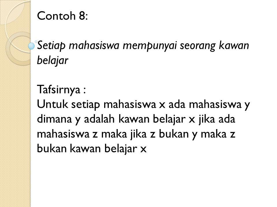 Contoh 8: Setiap mahasiswa mempunyai seorang kawan belajar Tafsirnya : Untuk setiap mahasiswa x ada mahasiswa y dimana y adalah kawan belajar x jika a