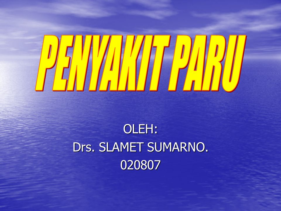 OLEH: Drs. SLAMET SUMARNO. 020807