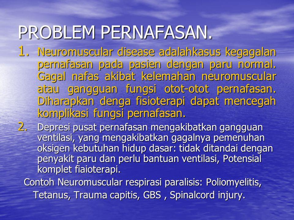 PROBLEM PERNAFASAN. 1. Neuromuscular disease adalahkasus kegagalan pernafasan pada pasien dengan paru normal. Gagal nafas akibat kelemahan neuromuscul