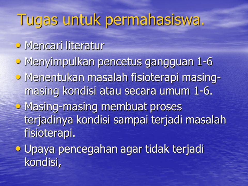 Tugas untuk permahasiswa. Mencari literatur Mencari literatur Menyimpulkan pencetus gangguan 1-6 Menyimpulkan pencetus gangguan 1-6 Menentukan masalah