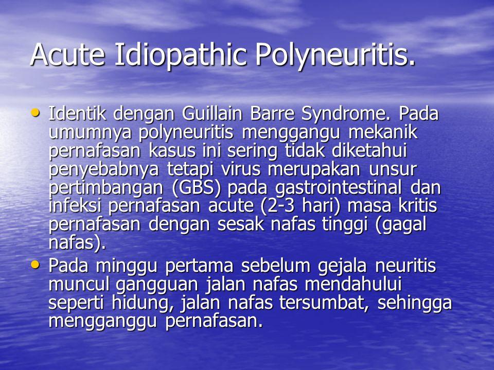 Acute Idiopathic Polyneuritis. Identik dengan Guillain Barre Syndrome. Pada umumnya polyneuritis menggangu mekanik pernafasan kasus ini sering tidak d