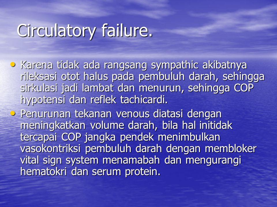 Circulatory failure. Karena tidak ada rangsang sympathic akibatnya rileksasi otot halus pada pembuluh darah, sehingga sirkulasi jadi lambat dan menuru