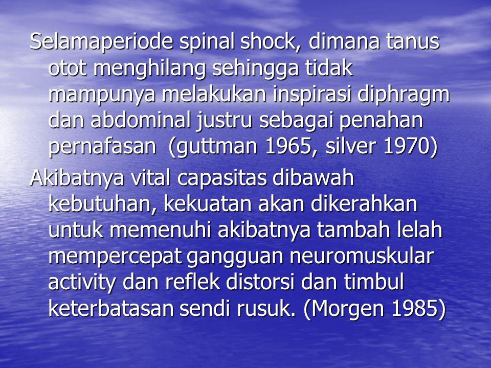 Selamaperiode spinal shock, dimana tanus otot menghilang sehingga tidak mampunya melakukan inspirasi diphragm dan abdominal justru sebagai penahan per