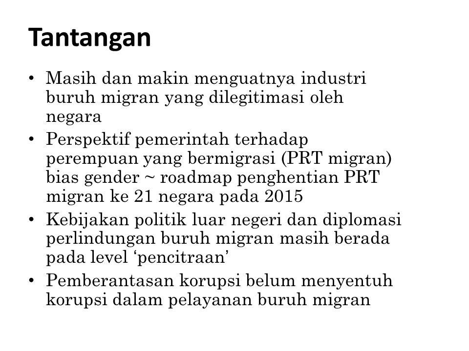Tantangan Masih dan makin menguatnya industri buruh migran yang dilegitimasi oleh negara Perspektif pemerintah terhadap perempuan yang bermigrasi (PRT