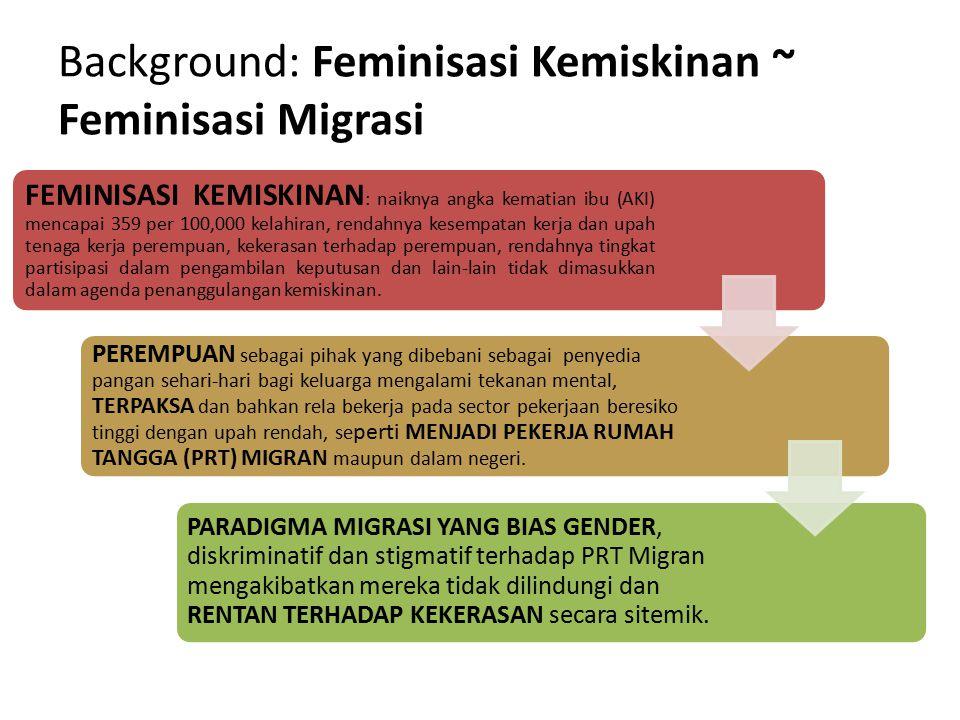 Background: Feminisasi Kemiskinan ~ Feminisasi Migrasi FEMINISASI KEMISKINAN : naiknya angka kematian ibu (AKI) mencapai 359 per 100,000 kelahiran, re