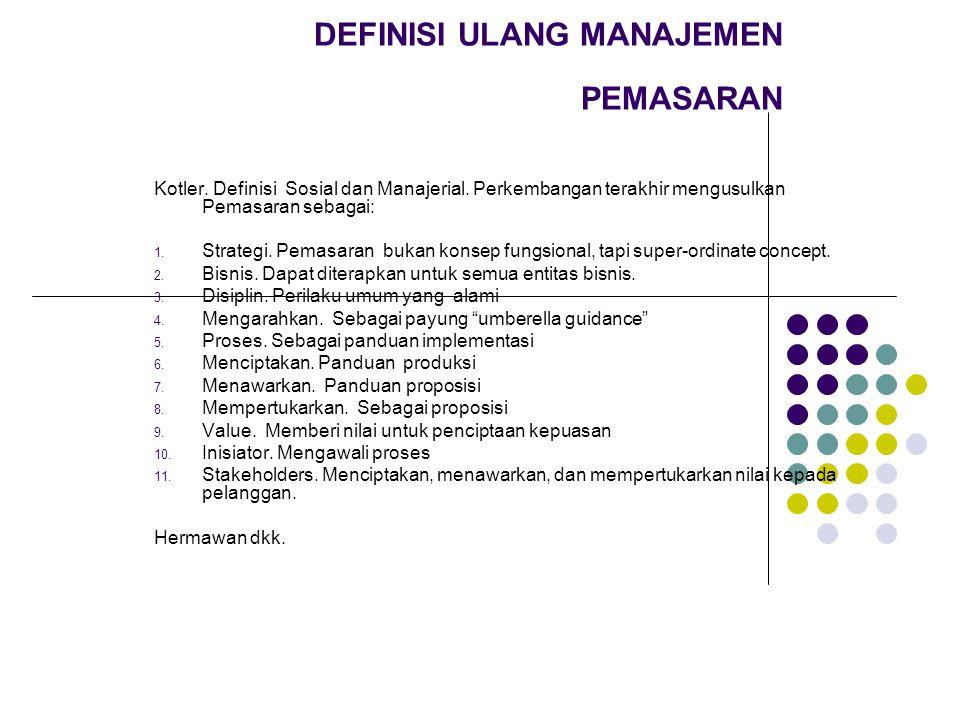 DEFINISI ULANG MANAJEMEN PEMASARAN Kotler.Definisi Sosial dan Manajerial.