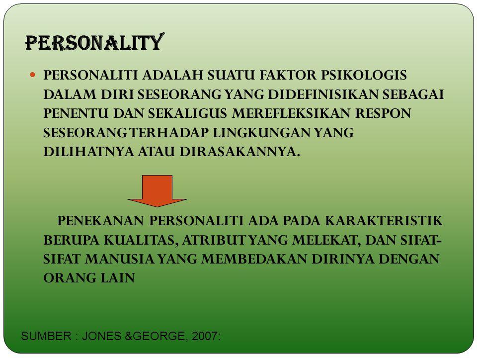 PERSONALITY PERSONALITI ADALAH SUATU FAKTOR PSIKOLOGIS DALAM DIRI SESEORANG YANG DIDEFINISIKAN SEBAGAI PENENTU DAN SEKALIGUS MEREFLEKSIKAN RESPON SESE
