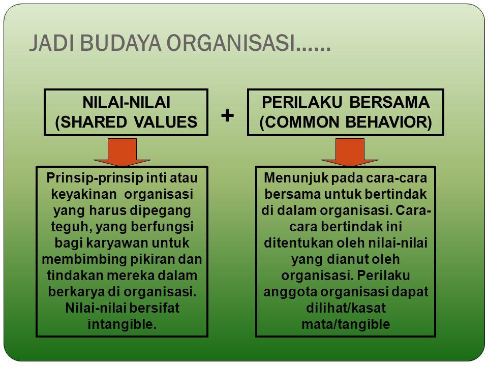 JADI BUDAYA ORGANISASI…… NILAI-NILAI (SHARED VALUES PERILAKU BERSAMA (COMMON BEHAVIOR) + Prinsip-prinsip inti atau keyakinan organisasi yang harus dip