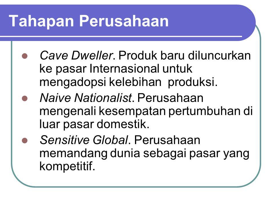 Tahapan Perusahaan Cave Dweller. Produk baru diluncurkan ke pasar Internasional untuk mengadopsi kelebihan produksi. Naive Nationalist. Perusahaan men