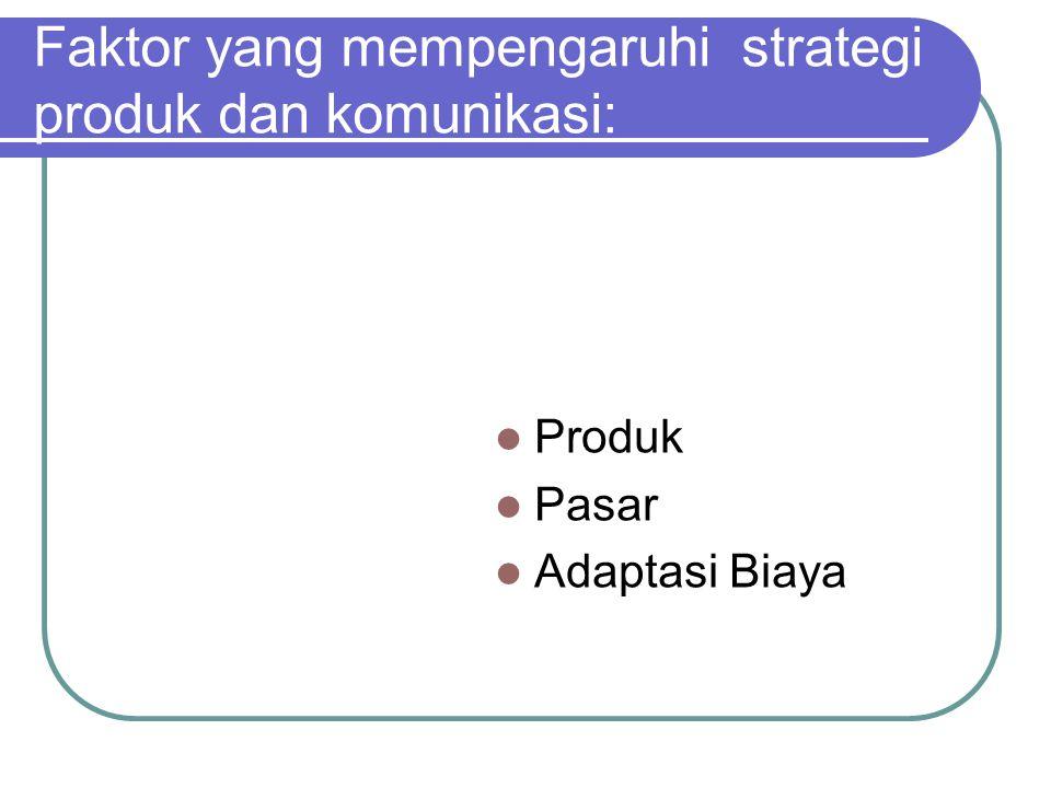 Faktor yang mempengaruhi strategi produk dan komunikasi: Produk Pasar Adaptasi Biaya