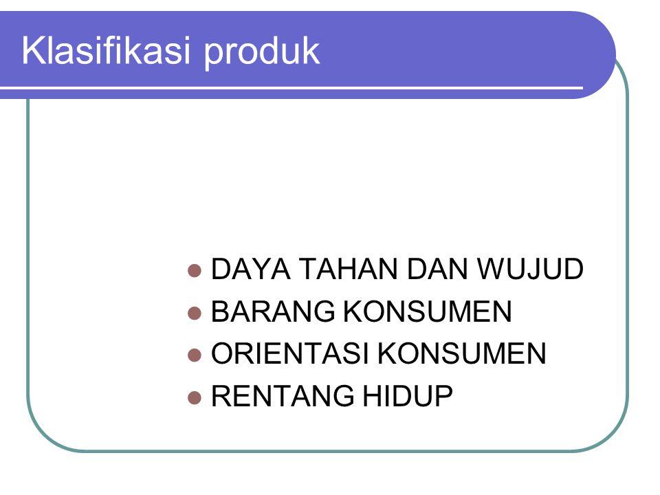 Klasifikasi produk DAYA TAHAN DAN WUJUD BARANG KONSUMEN ORIENTASI KONSUMEN RENTANG HIDUP