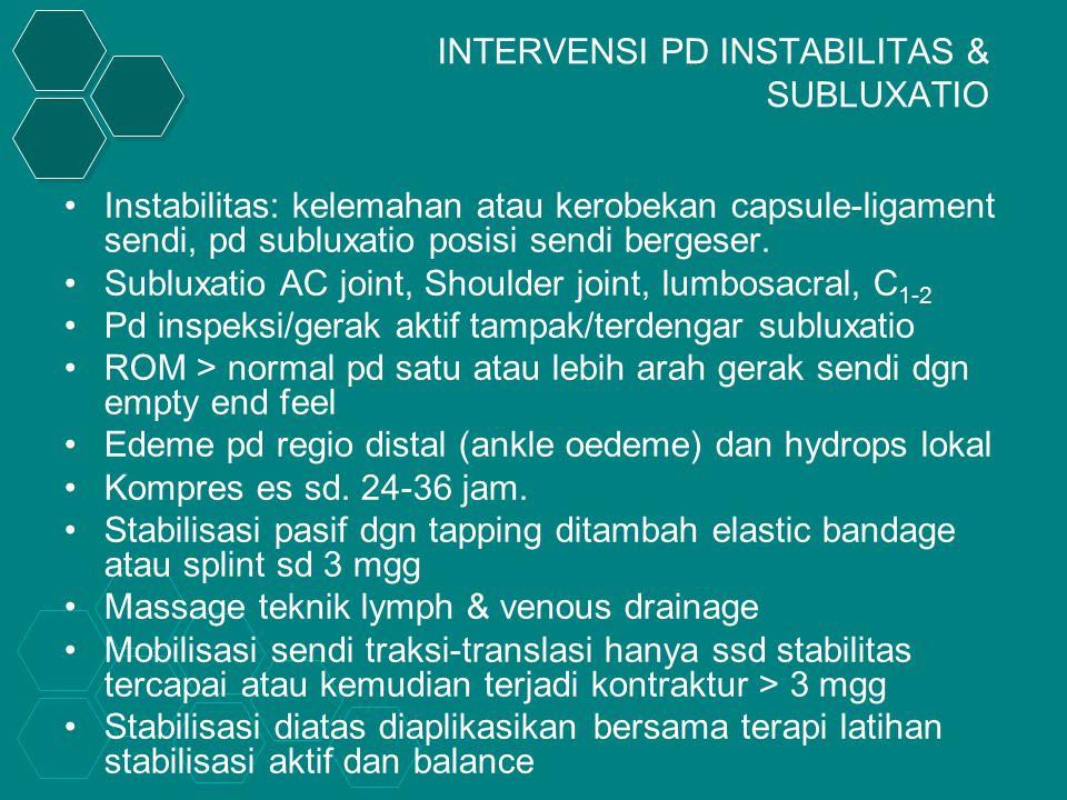 INTERVENSI PD INSTABILITAS & SUBLUXATIO Instabilitas: kelemahan atau kerobekan capsule-ligament sendi, pd subluxatio posisi sendi bergeser.
