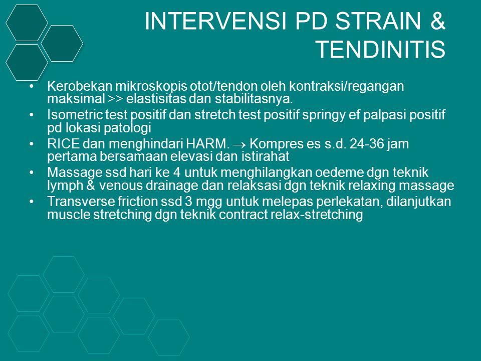 INTERVENSI PD STRAIN & TENDINITIS Kerobekan mikroskopis otot/tendon oleh kontraksi/regangan maksimal >> elastisitas dan stabilitasnya.