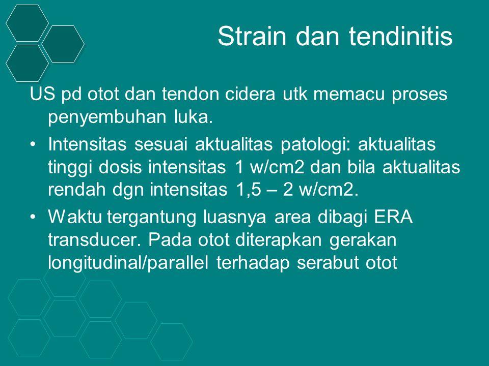 Strain dan tendinitis US pd otot dan tendon cidera utk memacu proses penyembuhan luka.