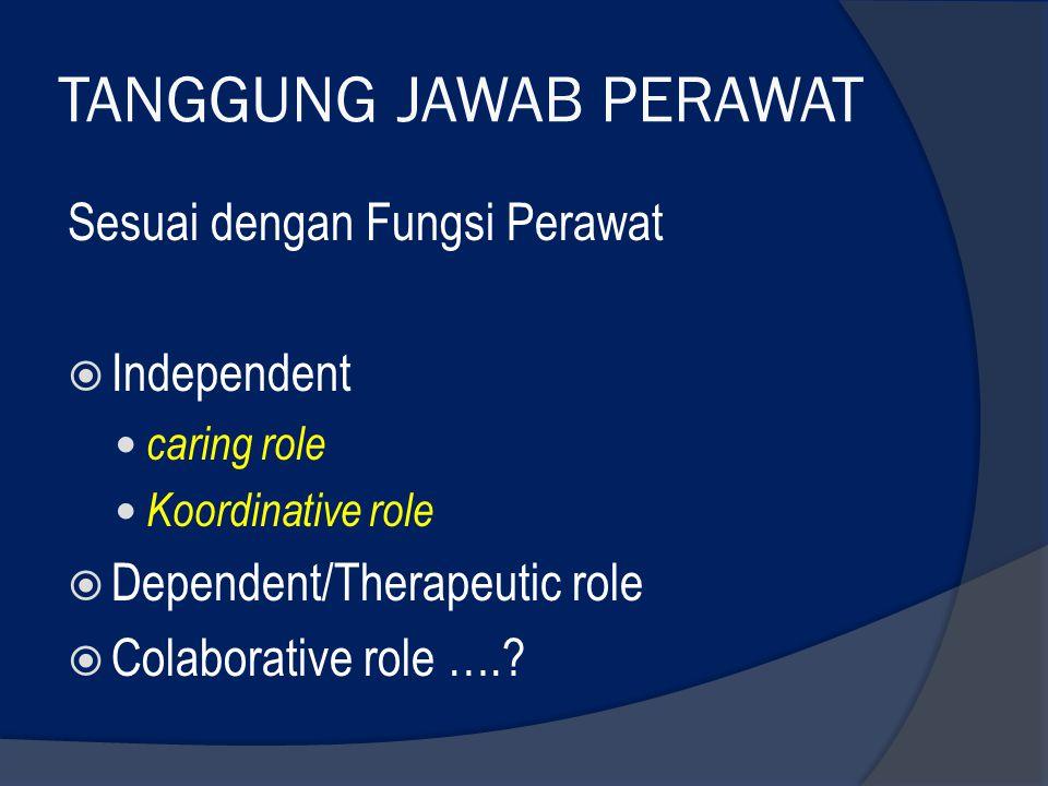 TANGGUNG JAWAB PERAWAT Sesuai dengan Fungsi Perawat  Independent caring role Koordinative role  Dependent/Therapeutic role  Colaborative role ….?