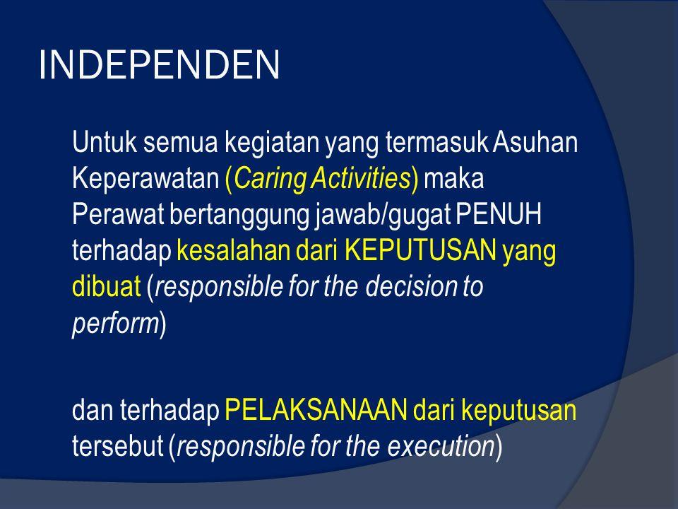 INDEPENDEN Untuk semua kegiatan yang termasuk Asuhan Keperawatan ( Caring Activities ) maka Perawat bertanggung jawab/gugat PENUH terhadap kesalahan d