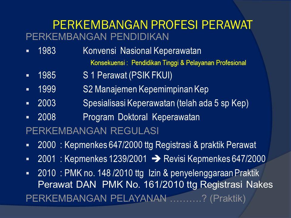 PERKEMBANGAN PROFESI PERAWAT PERKEMBANGAN PENDIDIKAN  1983Konvensi Nasional Keperawatan Konsekuensi : Pendidikan Tinggi & Pelayanan Profesional  198