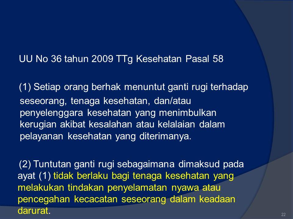UU No 36 tahun 2009 TTg Kesehatan Pasal 58 (1) Setiap orang berhak menuntut ganti rugi terhadap seseorang, tenaga kesehatan, dan/atau penyelenggara ke