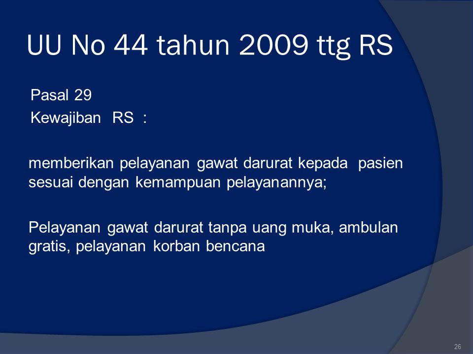 UU No 44 tahun 2009 ttg RS Pasal 29 Kewajiban RS : memberikan pelayanan gawat darurat kepada pasien sesuai dengan kemampuan pelayanannya; Pelayanan ga