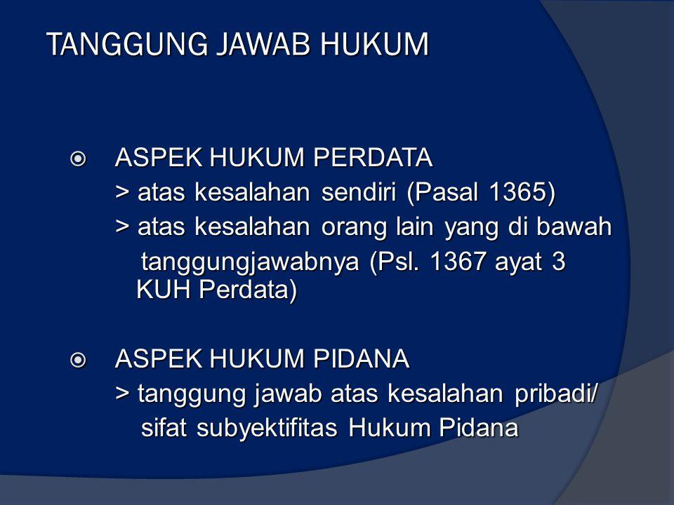 TANGGUNG JAWAB HUKUM  ASPEK HUKUM PERDATA > atas kesalahan sendiri (Pasal 1365) > atas kesalahan orang lain yang di bawah tanggungjawabnya (Psl. 1367