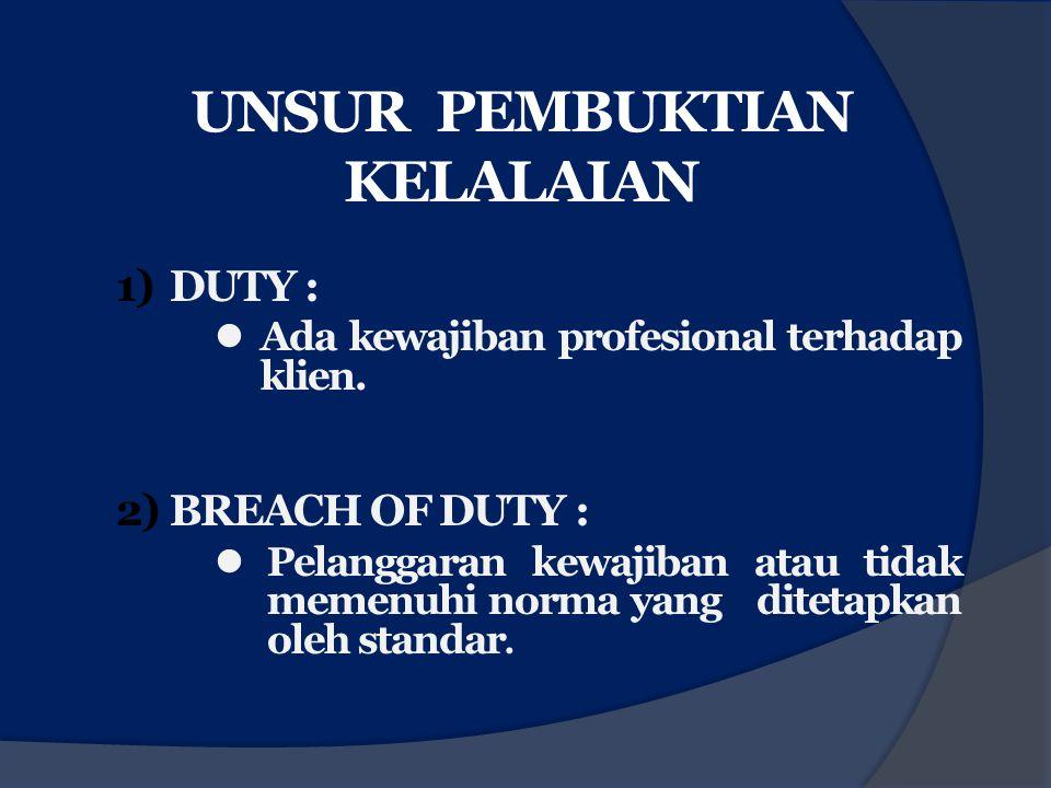 UNSUR PEMBUKTIAN KELALAIAN 1)DUTY : Ada kewajiban profesional terhadap klien. 2)BREACH OF DUTY : Pelanggaran kewajiban atau tidak memenuhi norma yang