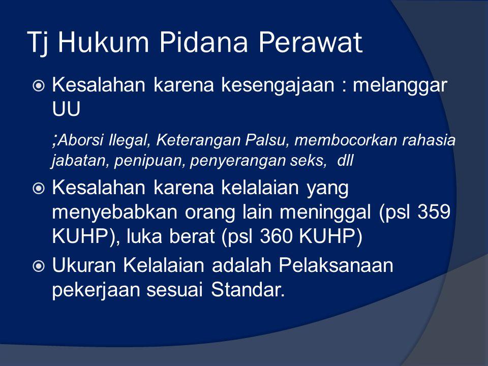 Tj Hukum Pidana Perawat  Kesalahan karena kesengajaan : melanggar UU ; Aborsi Ilegal, Keterangan Palsu, membocorkan rahasia jabatan, penipuan, penyer