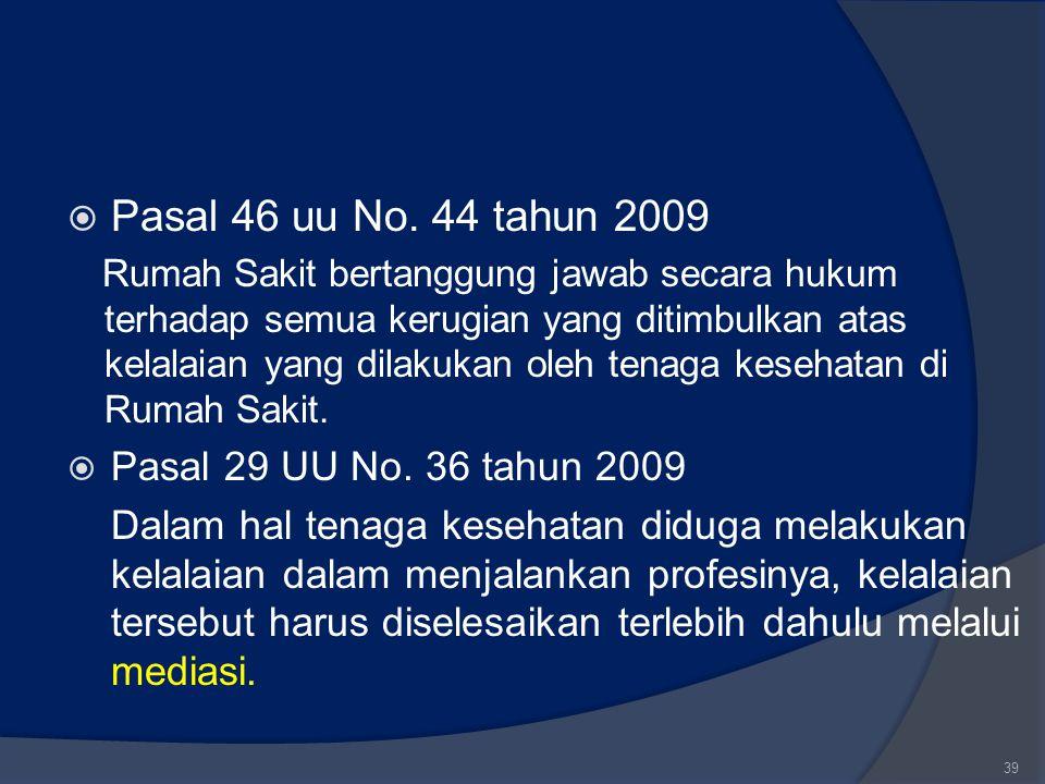  Pasal 46 uu No. 44 tahun 2009 Rumah Sakit bertanggung jawab secara hukum terhadap semua kerugian yang ditimbulkan atas kelalaian yang dilakukan oleh